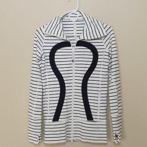 Lululemon In Stride Jacket White Navy Stripe SZ 2